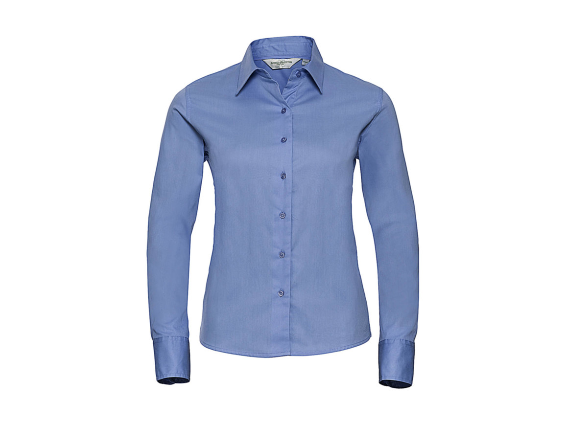Russell Europe Ladies` Classic Twill Shirt LS, Blue, XS (34) bedrucken, Art.-Nr. 779003012