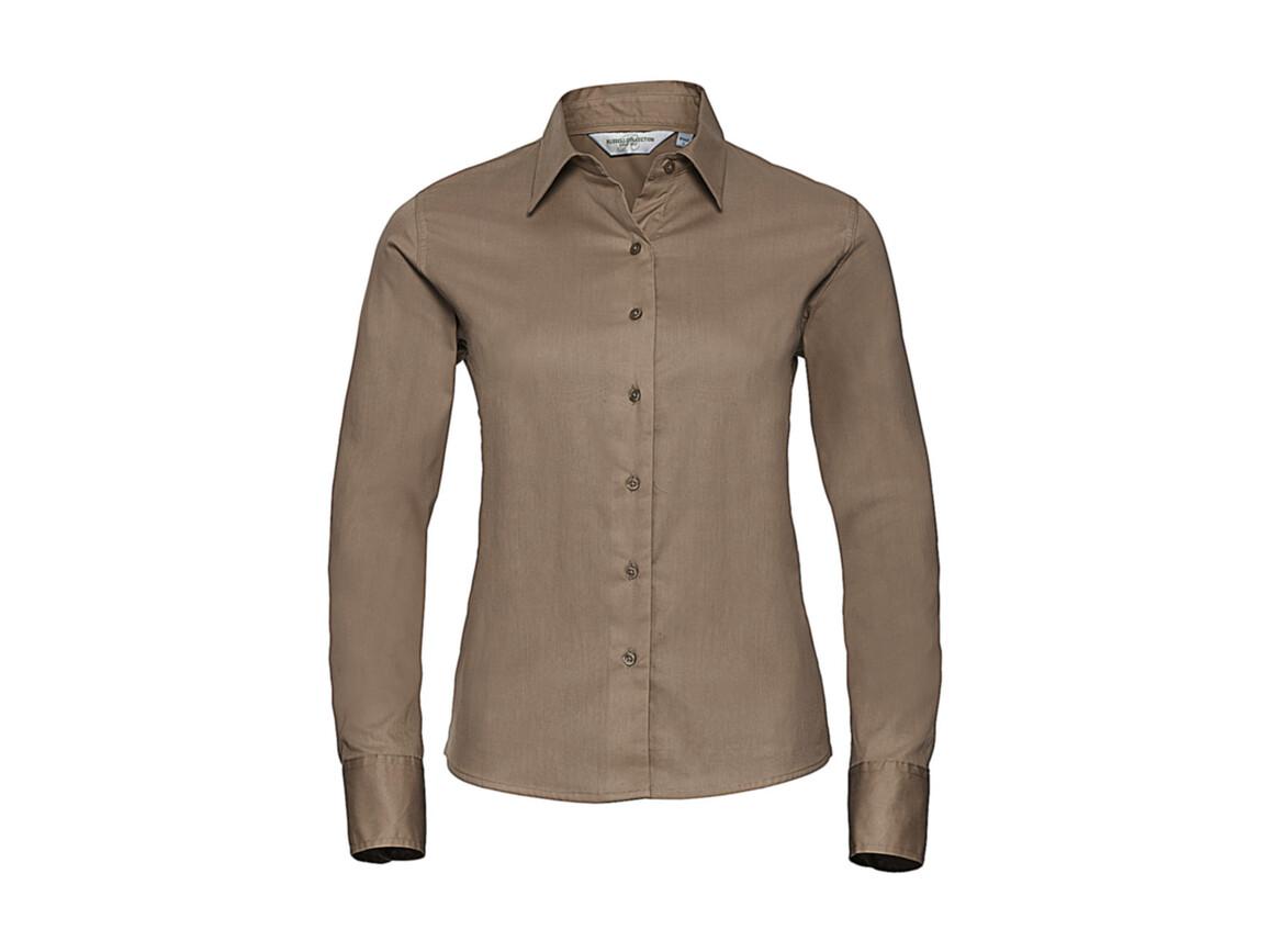 Russell Europe Ladies` Classic Twill Shirt LS, Khaki, L (40) bedrucken, Art.-Nr. 779007315