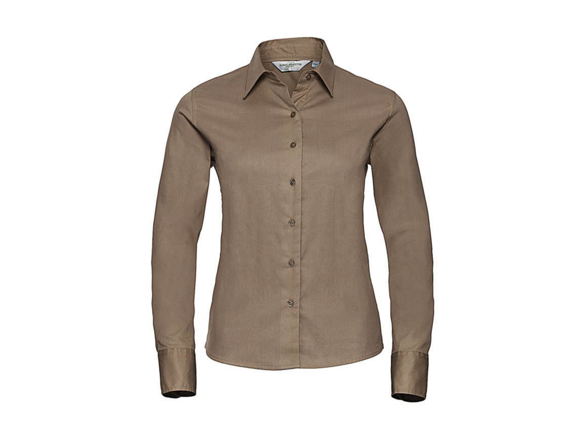 Russell Europe Ladies` Classic Twill Shirt LS, Khaki, S (36) bedrucken, Art.-Nr. 779007313