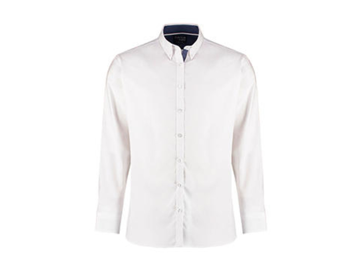 Kustom Kit Tailored Fit Contrast Oxford Shirt LS, White/Blue Spot/White, XL bedrucken, Art.-Nr. 781110986