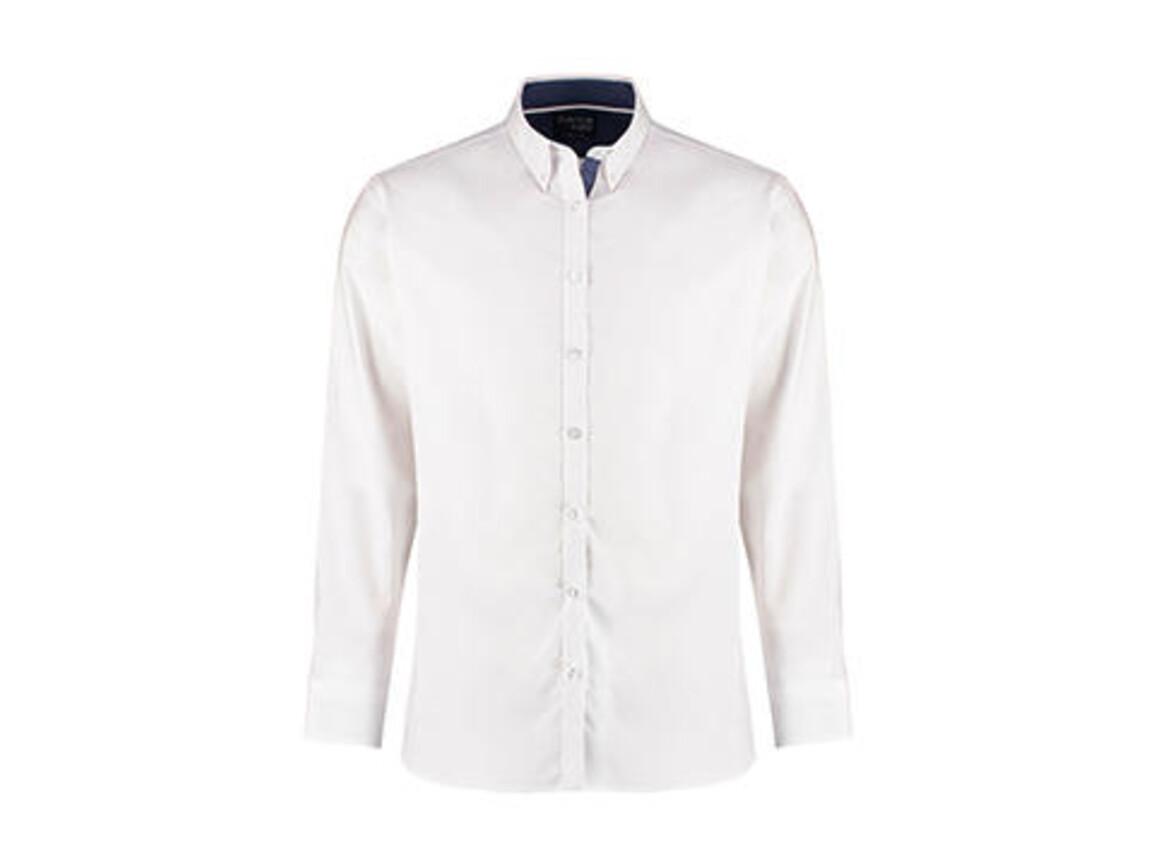 Kustom Kit Tailored Fit Contrast Oxford Shirt LS, White/Blue Spot/White, XS bedrucken, Art.-Nr. 781110982