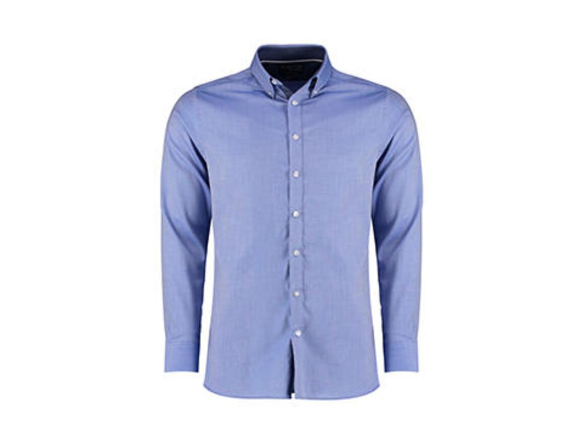 Kustom Kit Tailored Fit Contrast Oxford Shirt LS, Light Blue/Blue Spot/White, 2XL bedrucken, Art.-Nr. 781113987