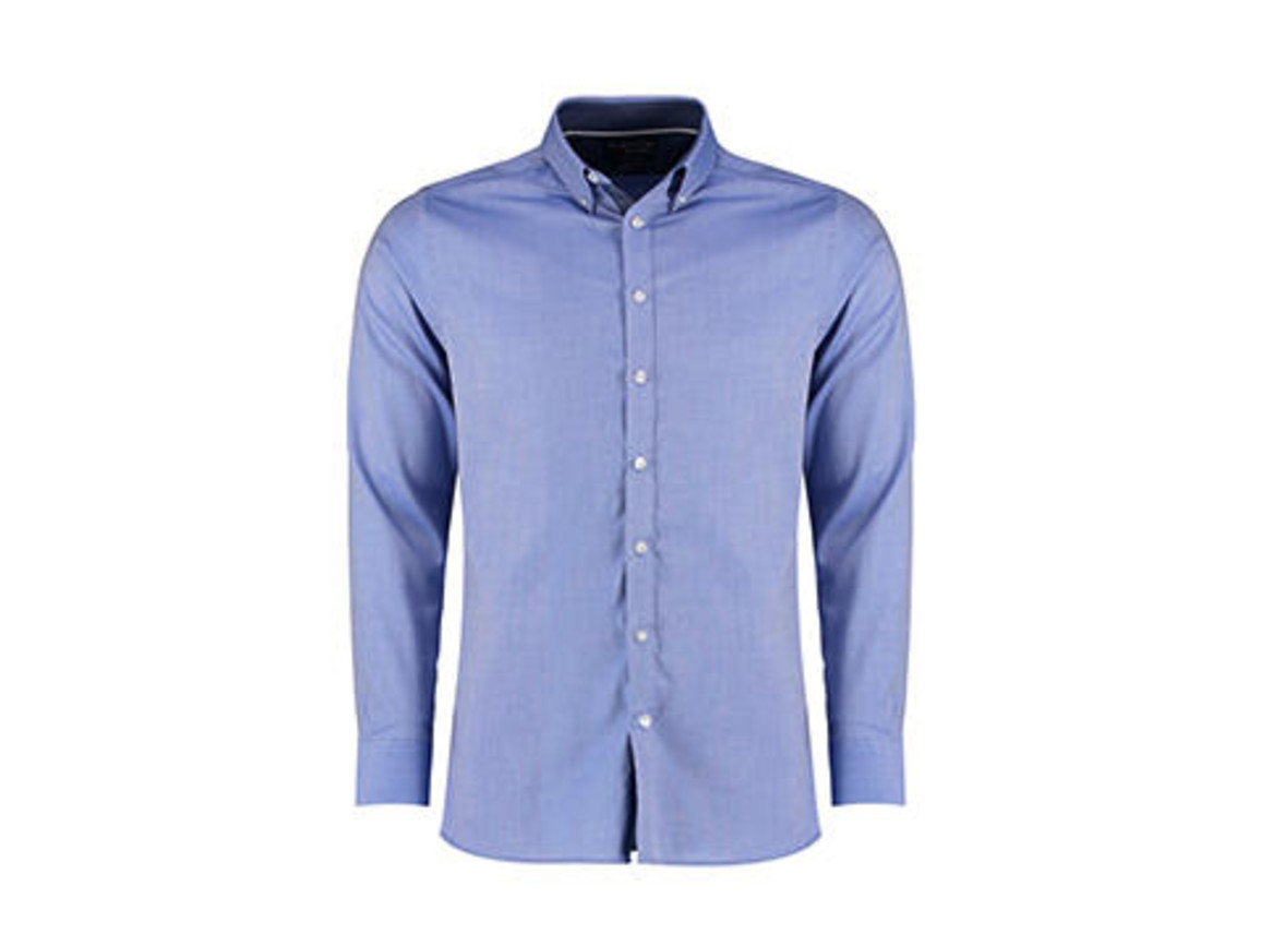 Kustom Kit Tailored Fit Contrast Oxford Shirt LS, Light Blue/Blue Spot/White, M bedrucken, Art.-Nr. 781113984