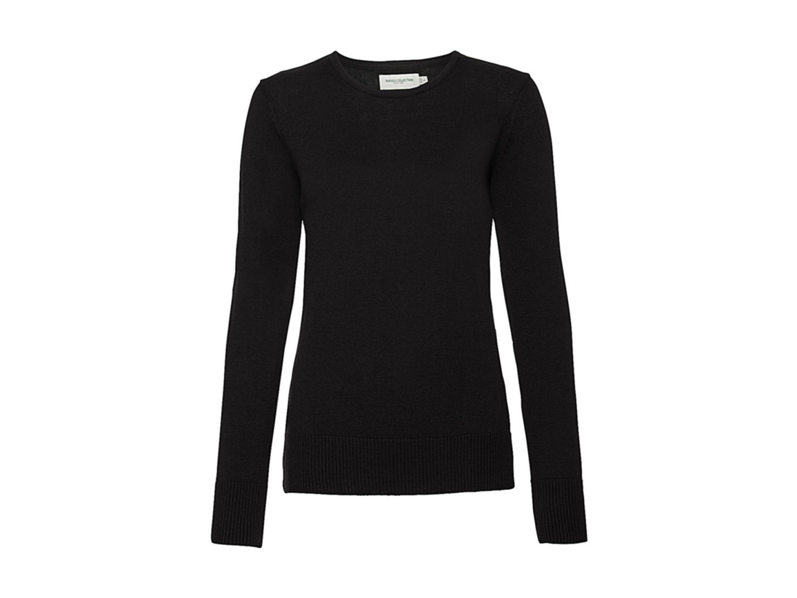 Russell Europe Ladies` Crew Neck Knitted Pullover, Black, 2XL bedrucken, Art.-Nr. 782001017