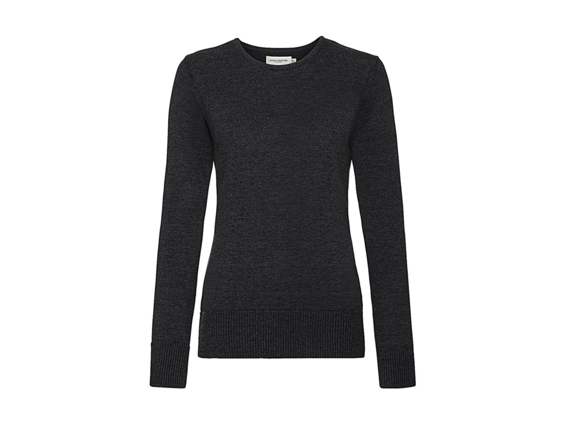 Russell Europe Ladies` Crew Neck Knitted Pullover, Charcoal Marl, L bedrucken, Art.-Nr. 782001165