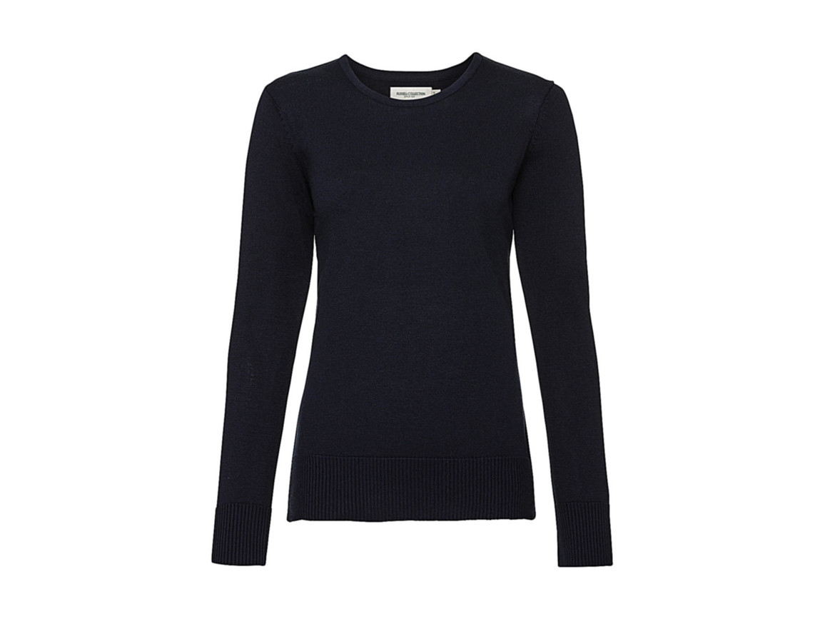 Russell Europe Ladies` Crew Neck Knitted Pullover, French Navy, S bedrucken, Art.-Nr. 782002013