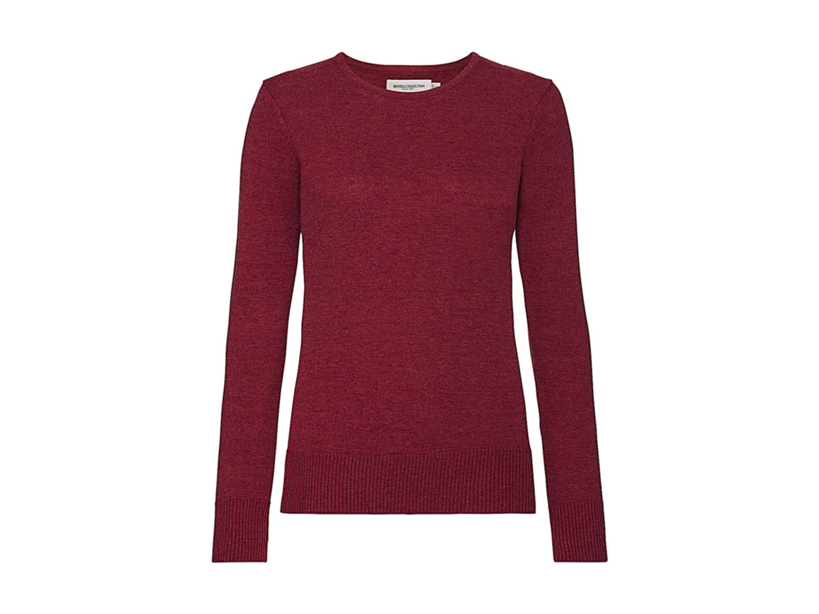 Russell Europe Ladies` Crew Neck Knitted Pullover, Cranberry Marl, L bedrucken, Art.-Nr. 782004315