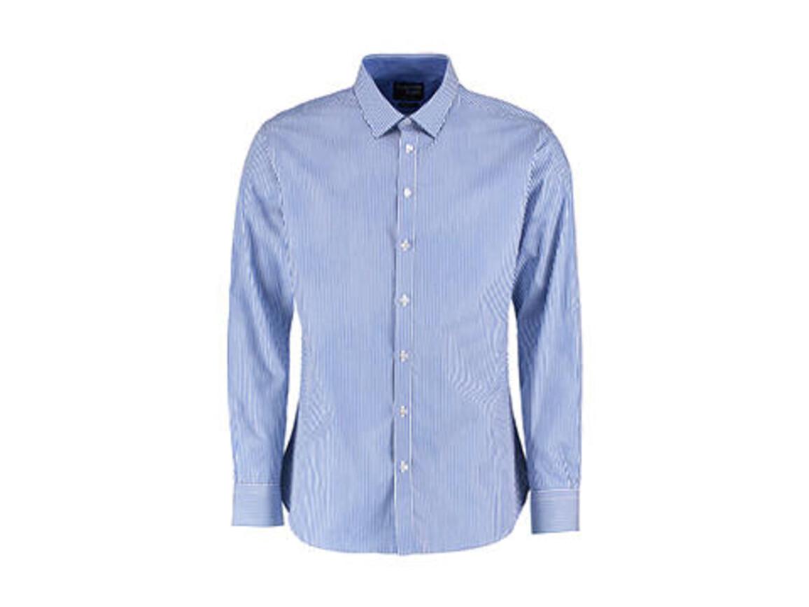 Kustom Kit Tailored Fit Bengal Stripe Shirt LS, Mid Blue/White, XS bedrucken, Art.-Nr. 782113512
