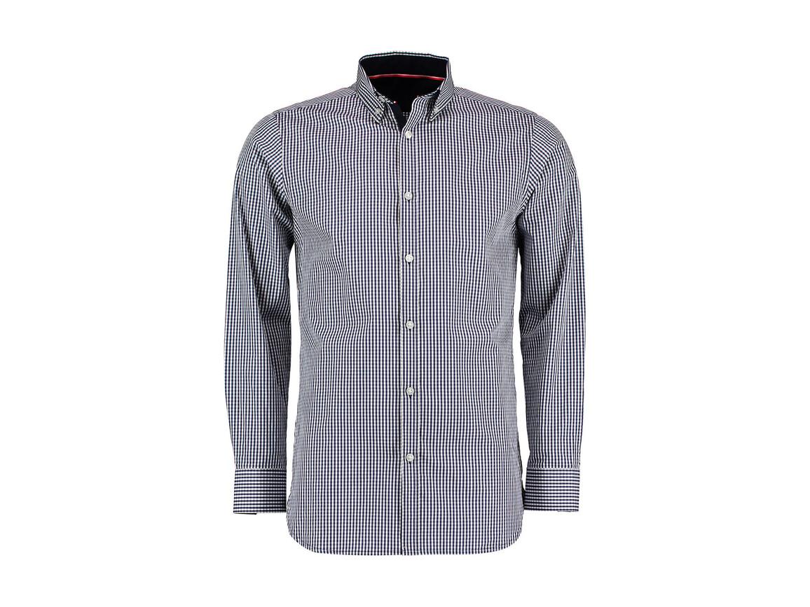 Kustom Kit Tailored Fit Gingham Shirt LS, Navy/White, 2XL bedrucken, Art.-Nr. 783112527