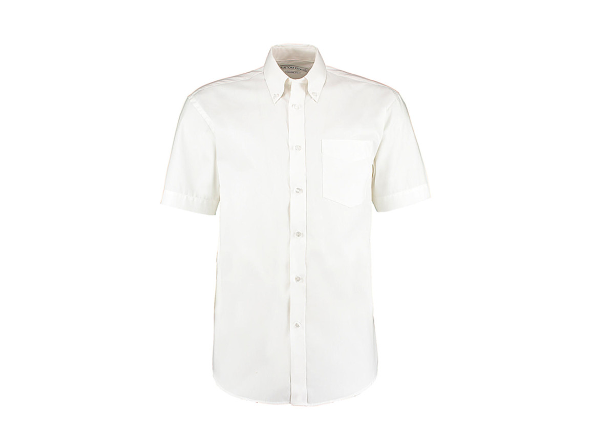 Kustom Kit Classic Fit Premium Oxford Shirt SSL, White, XL bedrucken, Art.-Nr. 784110007