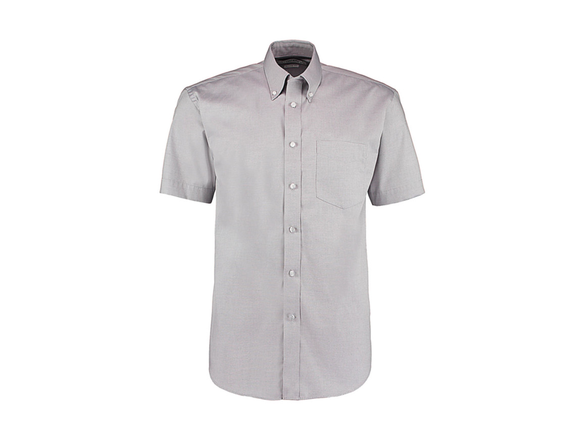 Kustom Kit Classic Fit Premium Oxford Shirt SSL, Silver Grey, 2XL bedrucken, Art.-Nr. 784117139