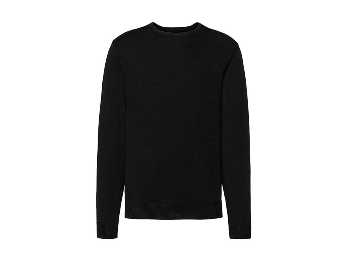Russell Europe Men`s Crew Neck Knitted Pullover, Black, XS bedrucken, Art.-Nr. 785001012