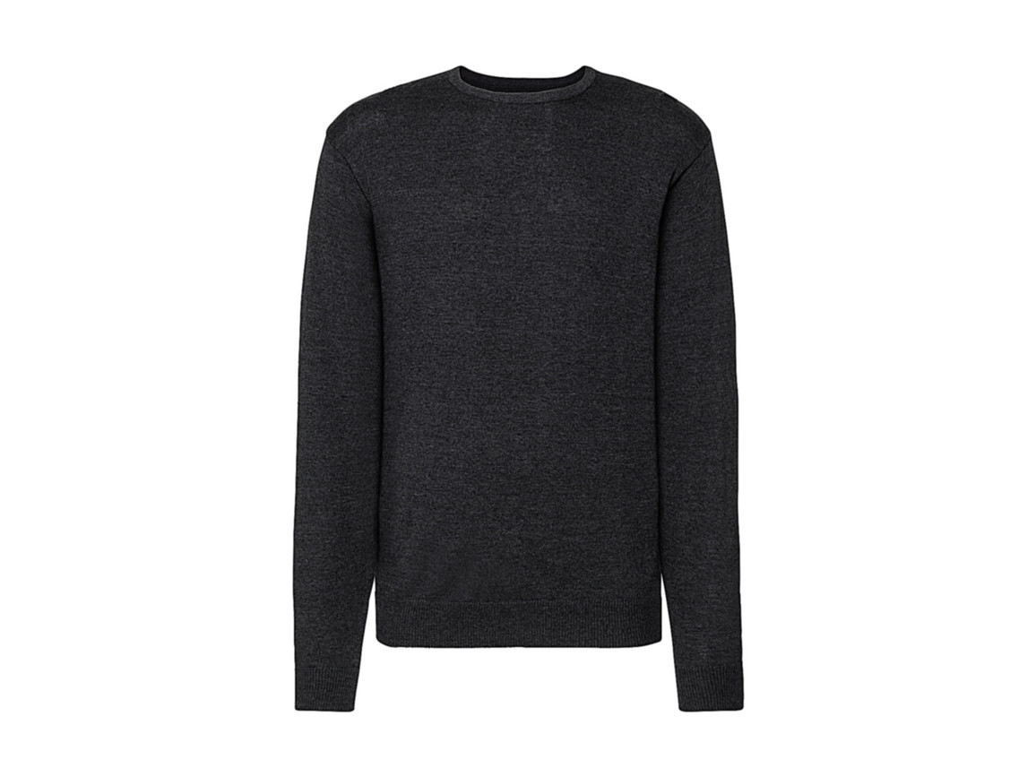 Russell Europe Men`s Crew Neck Knitted Pullover, Charcoal Marl, 2XS bedrucken, Art.-Nr. 785001161