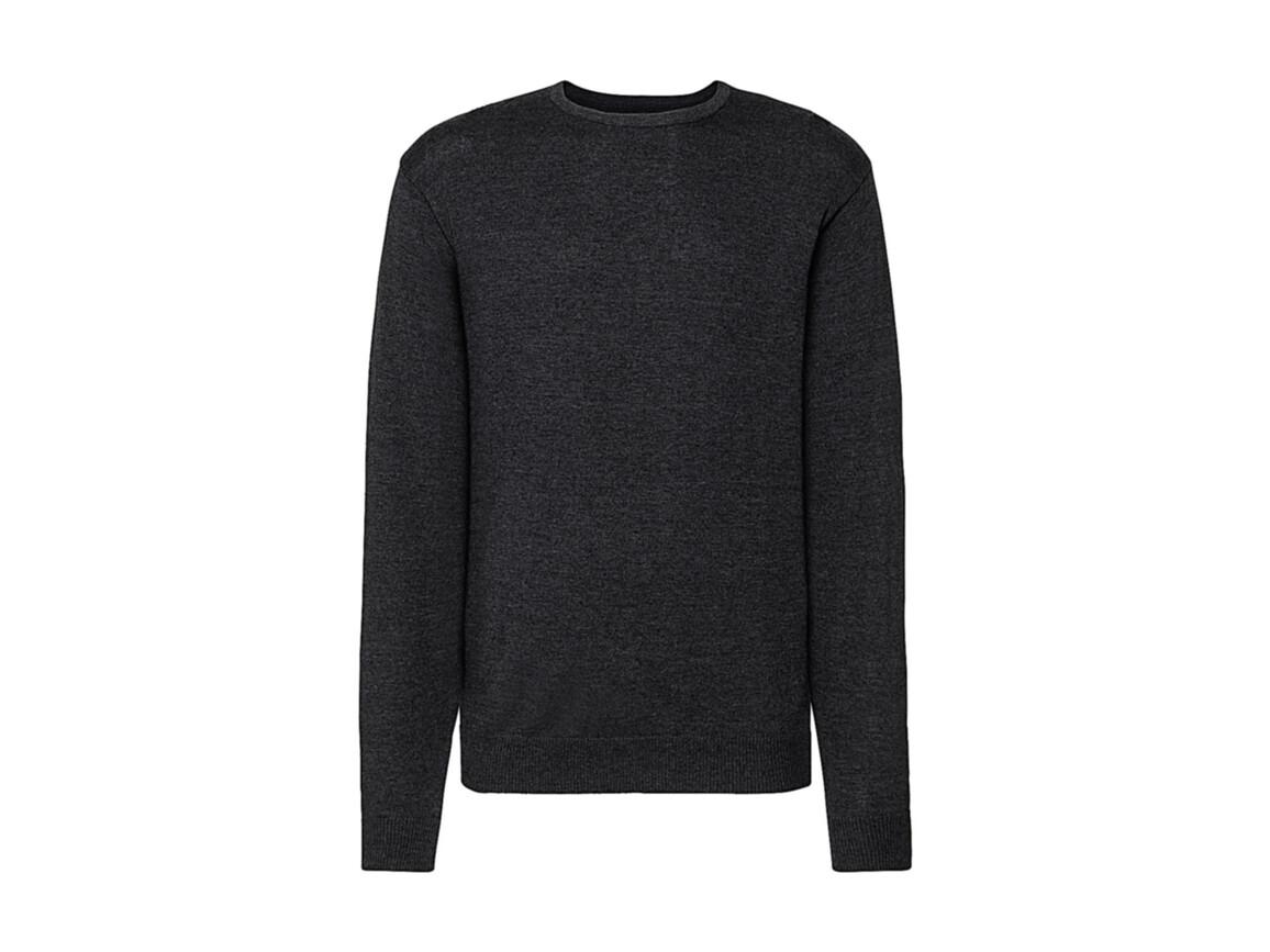 Russell Europe Men`s Crew Neck Knitted Pullover, Charcoal Marl, XS bedrucken, Art.-Nr. 785001162