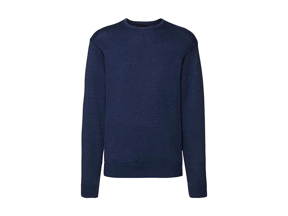 Russell Europe Men`s Crew Neck Knitted Pullover, Denim Marl, L bedrucken, Art.-Nr. 785003175