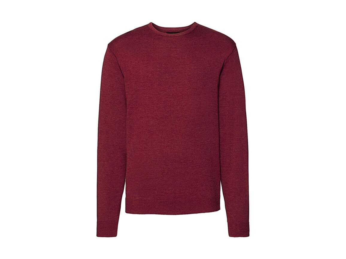 Russell Europe Men`s Crew Neck Knitted Pullover, Cranberry Marl, L bedrucken, Art.-Nr. 785004315