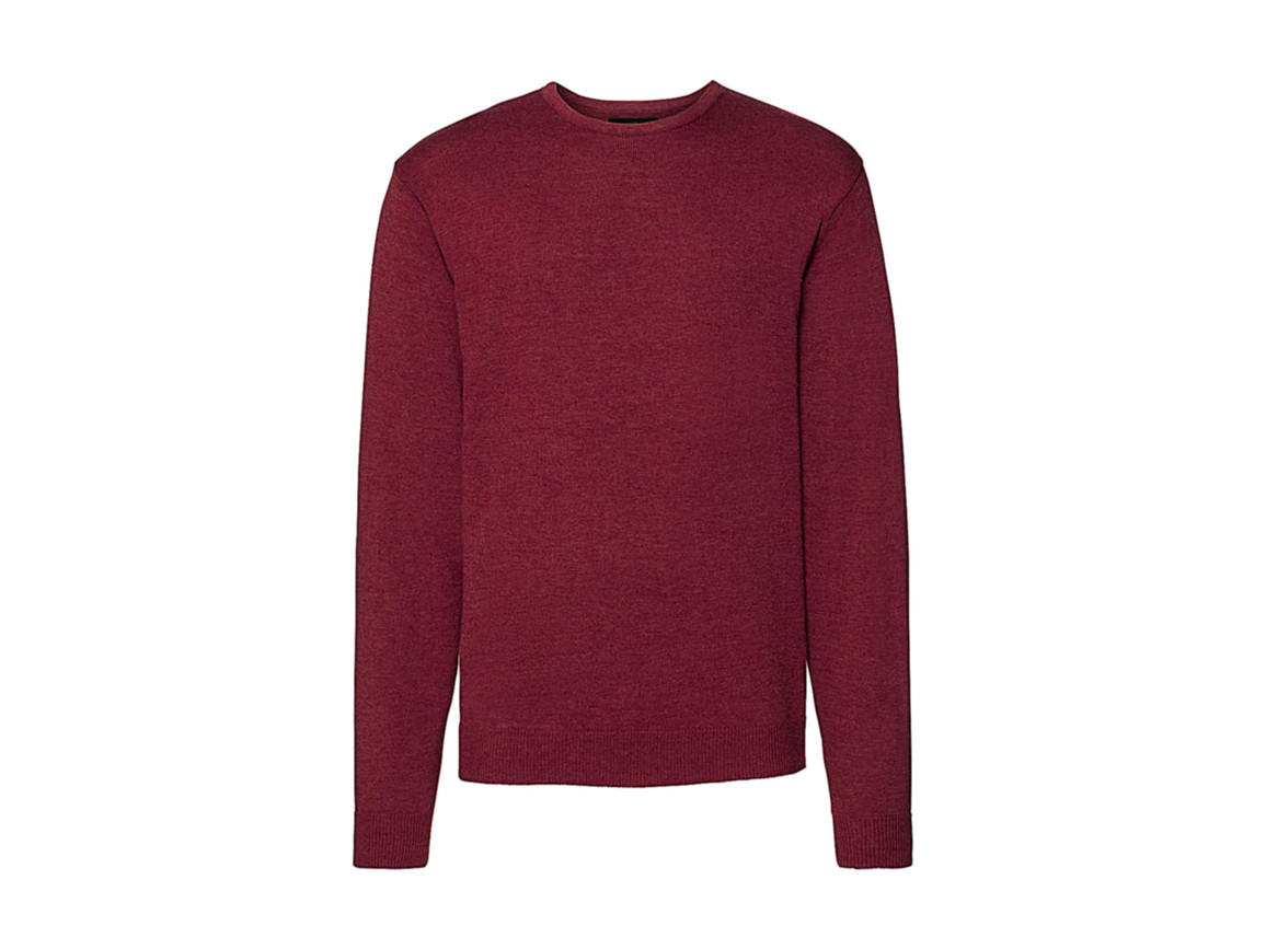Russell Europe Men`s Crew Neck Knitted Pullover, Cranberry Marl, M bedrucken, Art.-Nr. 785004314