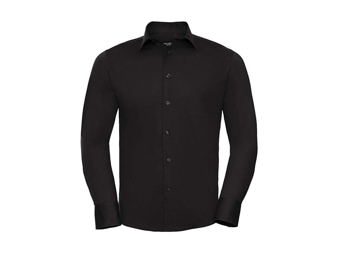 Russell Europe Fitted Stretch Shirt LS, Black, 2XL bedrucken, Art.-Nr. 786001017