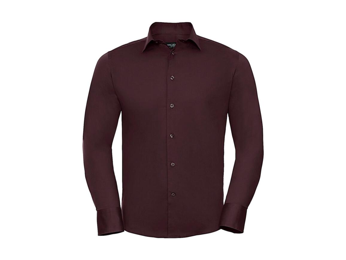 Russell Europe Fitted Stretch Shirt LS, Port, 4XL bedrucken, Art.-Nr. 786004499