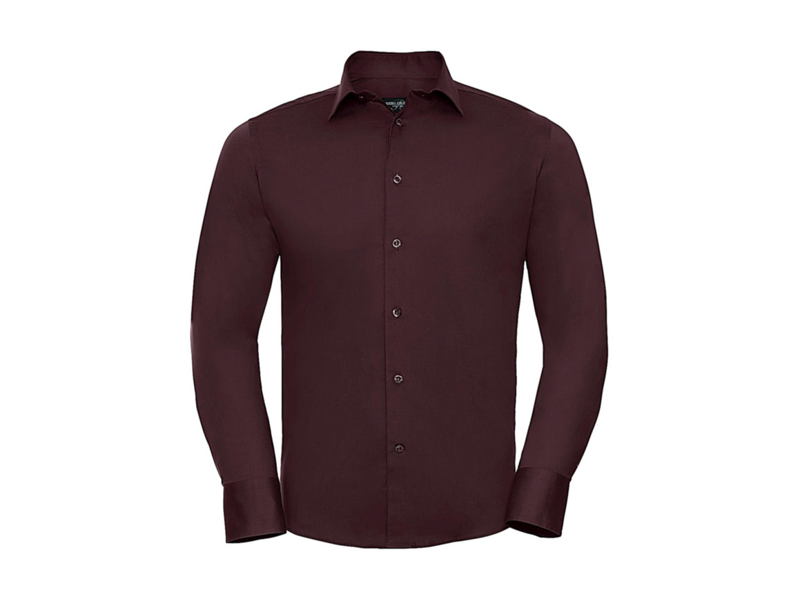 Russell Europe Fitted Stretch Shirt LS, Port, XL bedrucken, Art.-Nr. 786004496