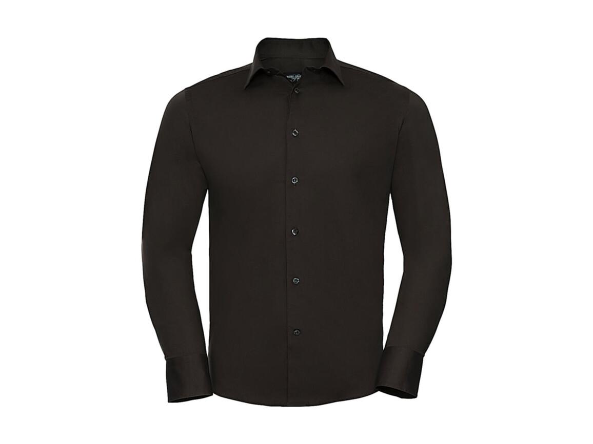 Russell Europe Fitted Stretch Shirt LS, Chocolate, M bedrucken, Art.-Nr. 786007014