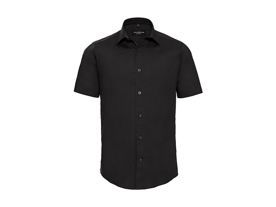 Russell Europe Fitted Stretch Shirt, Black, XL bedrucken, Art.-Nr. 787001016