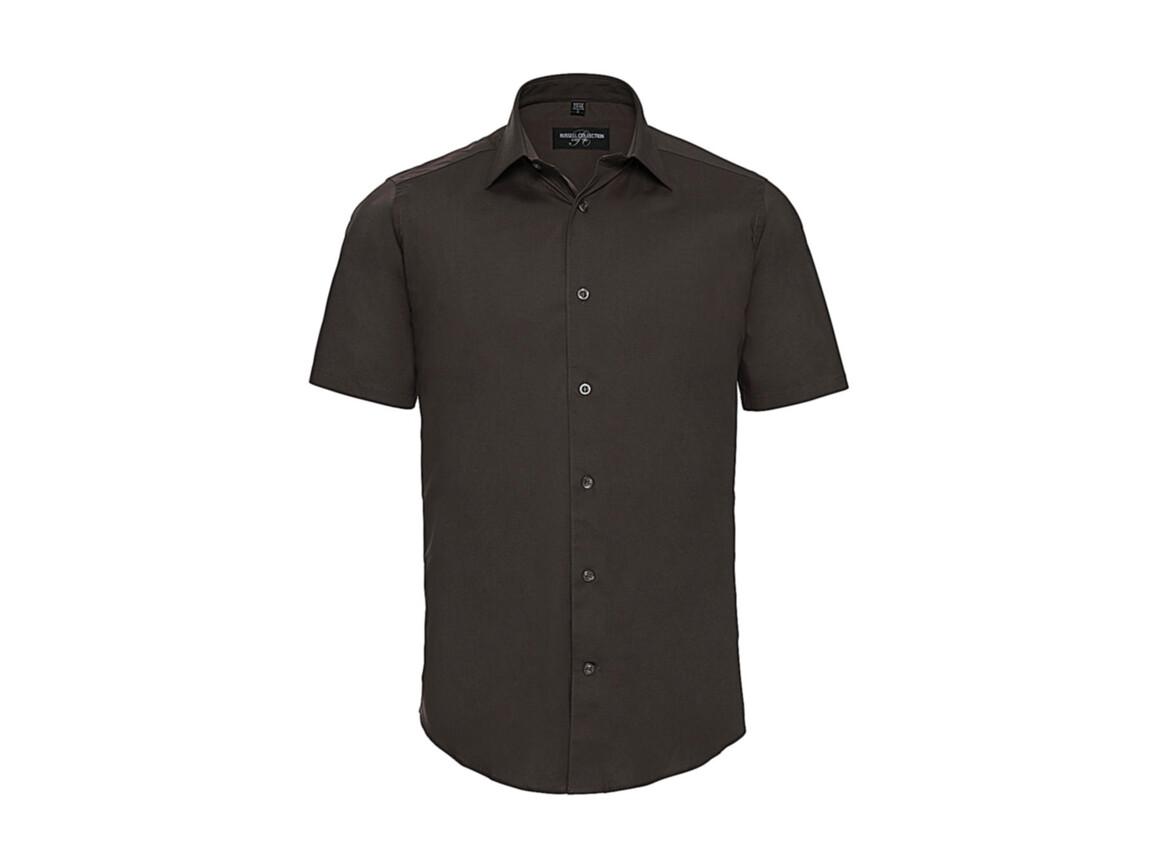Russell Europe Fitted Stretch Shirt, Chocolate, 2XL bedrucken, Art.-Nr. 787007017