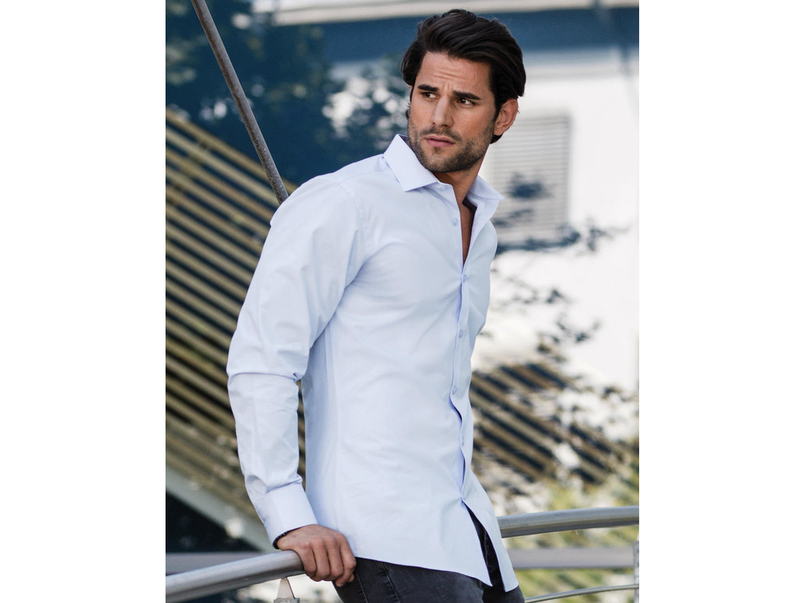 Russell Europe Men`s LS Ultimate Stretch Shirt, Bright Sky, M bedrucken, Art.-Nr. 788003104