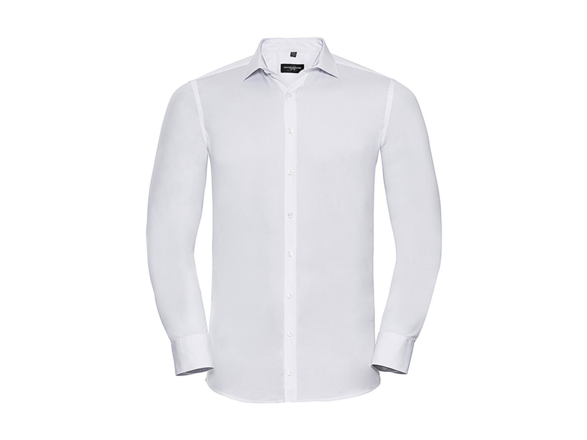 Russell Europe Men`s LS Ultimate Stretch Shirt, White, S bedrucken, Art.-Nr. 788000003