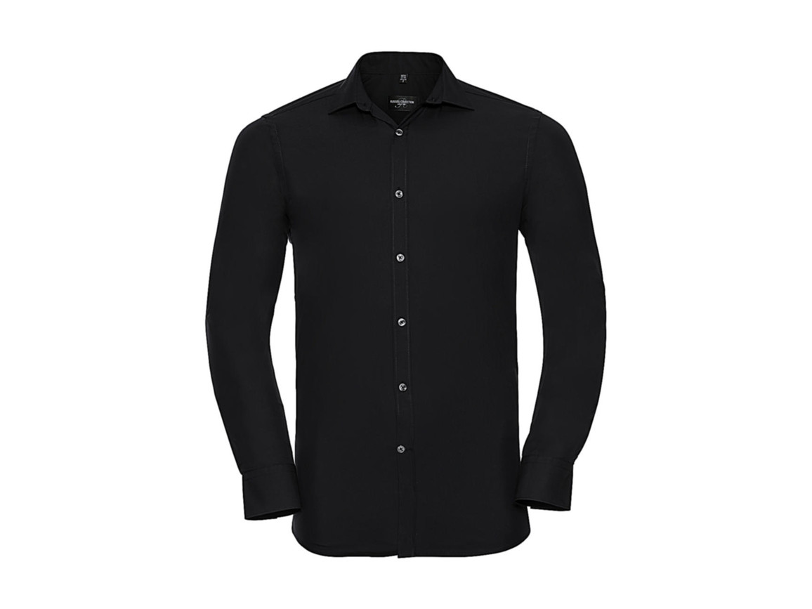 Russell Europe Men`s LS Ultimate Stretch Shirt, Black, 3XL bedrucken, Art.-Nr. 788001018