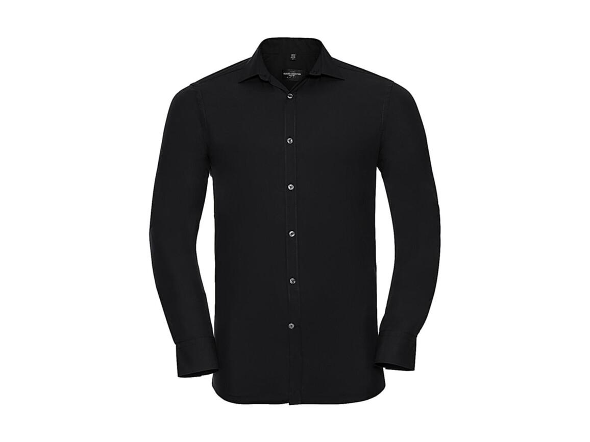 Russell Europe Men`s LS Ultimate Stretch Shirt, Black, S bedrucken, Art.-Nr. 788001013