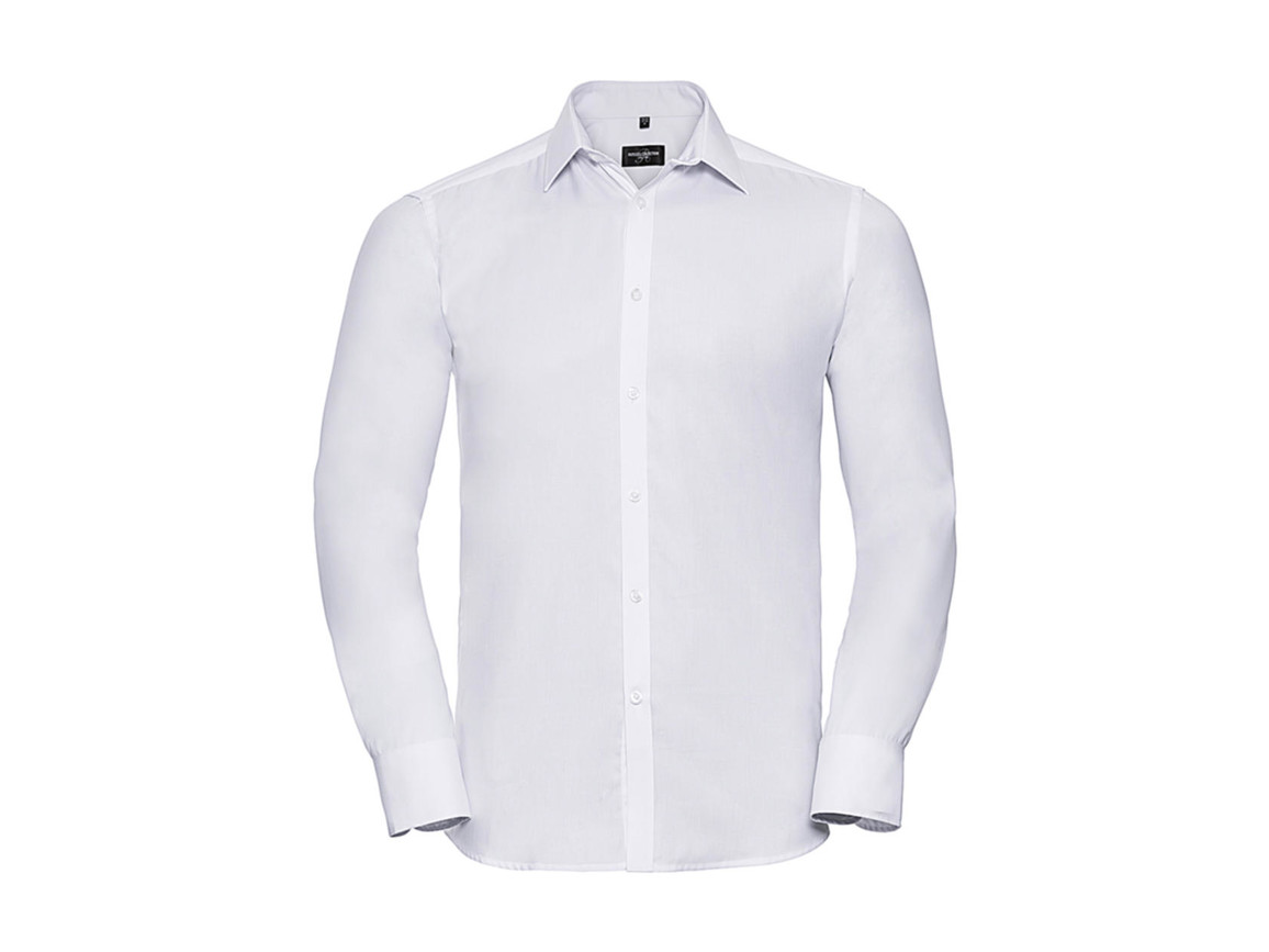 "Russell Europe Men`s LS Herringbone Shirt, White, 3XL (19"") bedrucken, Art.-Nr. 789000008"