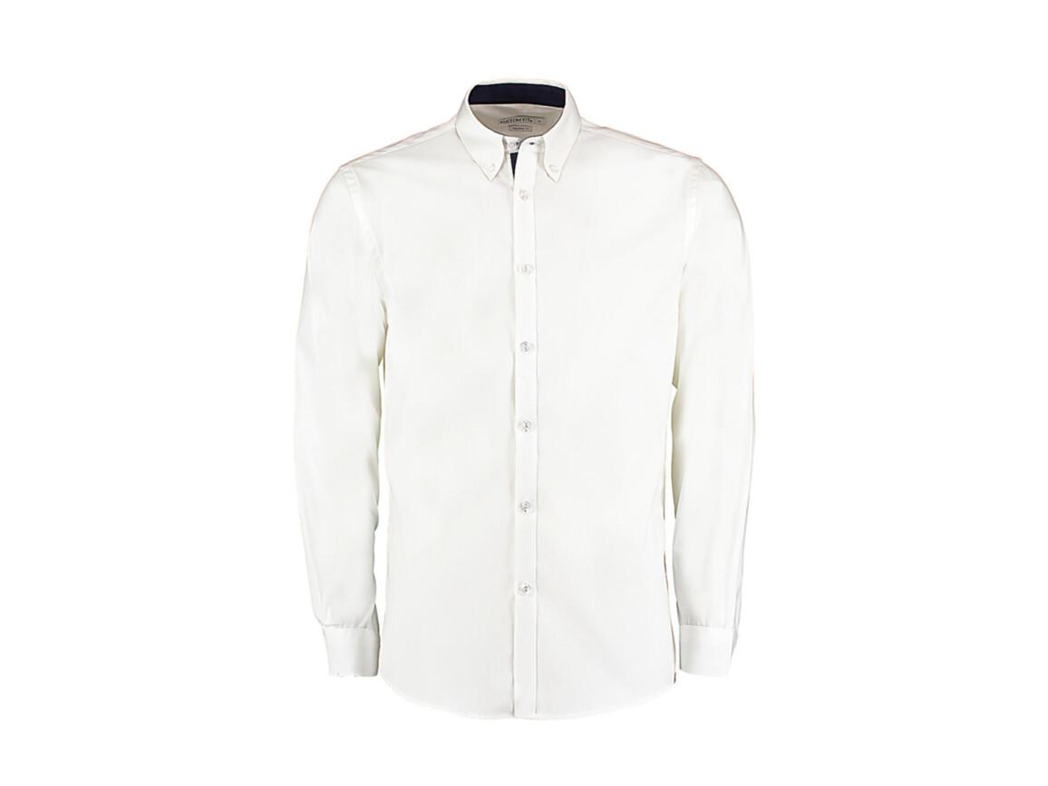 Kustom Kit Tailored Fit Premium Contrast Oxford Shirt, White/Navy, 2XL bedrucken, Art.-Nr. 790110527