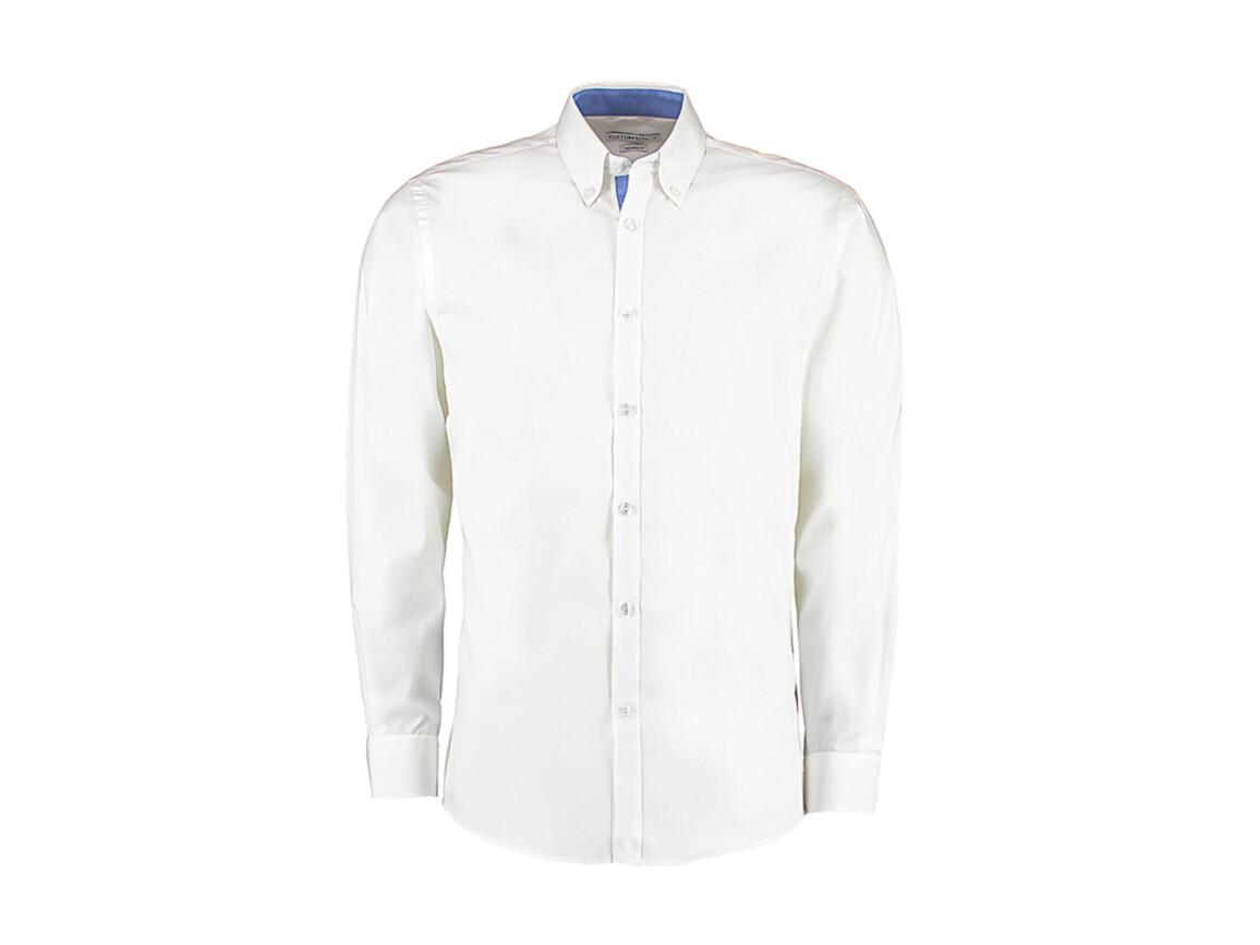 Kustom Kit Tailored Fit Premium Contrast Oxford Shirt, White/Mid Blue, M bedrucken, Art.-Nr. 790110764