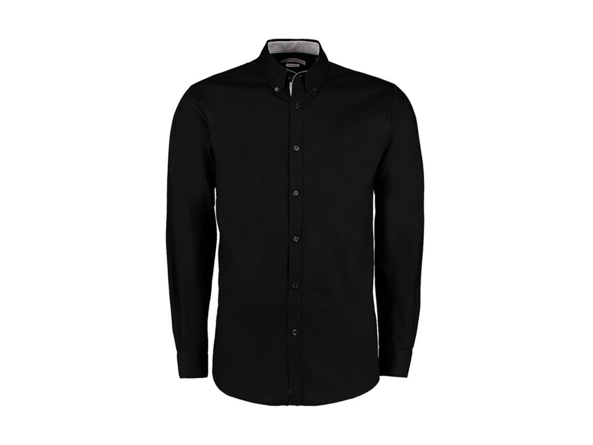 Kustom Kit Tailored Fit Premium Contrast Oxford Shirt, Black/Silver, S bedrucken, Art.-Nr. 790111763
