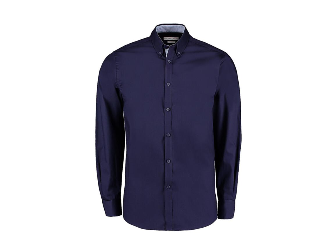 Kustom Kit Tailored Fit Premium Contrast Oxford Shirt, Navy/Light Blue, S bedrucken, Art.-Nr. 790112413