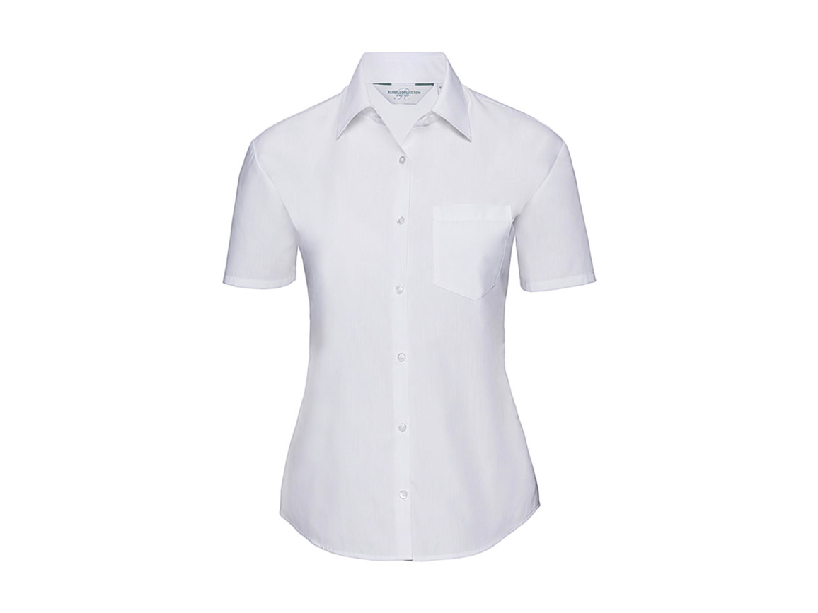Russell Europe Ladies` Poplin Shirt, White, M (38) bedrucken, Art.-Nr. 793000004