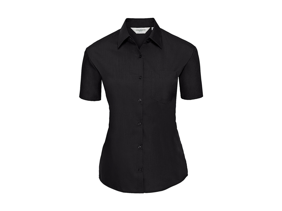Russell Europe Ladies` Poplin Shirt, Black, L (40) bedrucken, Art.-Nr. 793001015