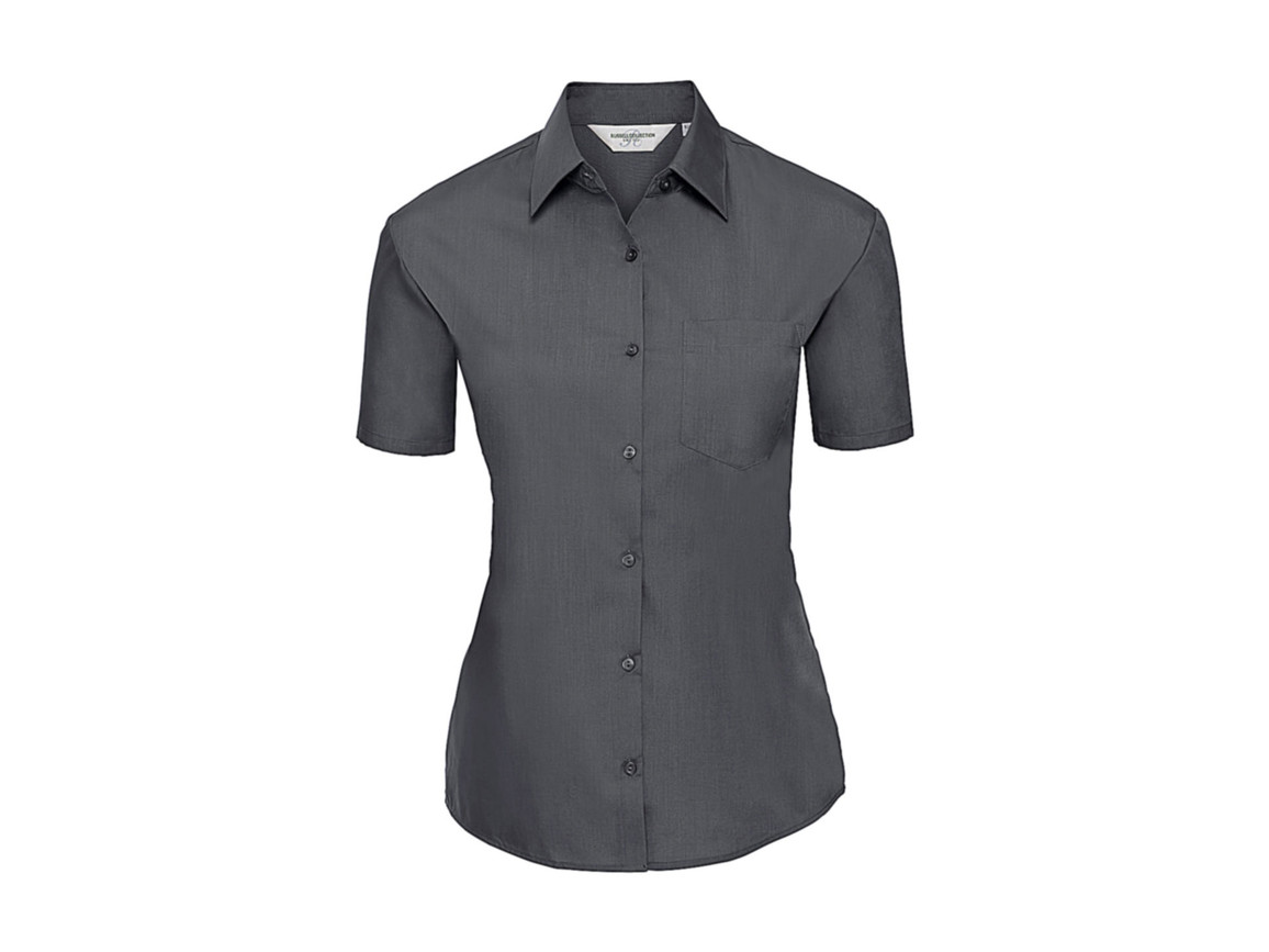 Russell Europe Ladies` Poplin Shirt, Convoy Grey, 4XL (48) bedrucken, Art.-Nr. 793001279