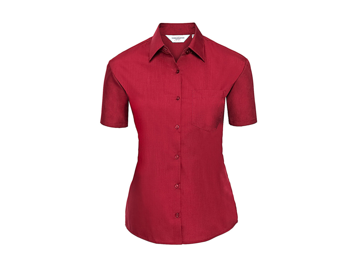 Russell Europe Ladies` Poplin Shirt, Classic Red, M (38) bedrucken, Art.-Nr. 793004014