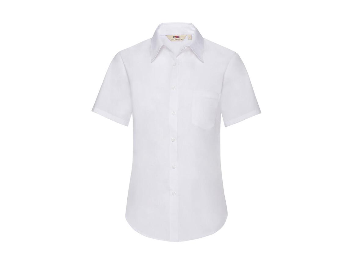 Fruit of the Loom Ladies` Poplin Shirt SS, White, L bedrucken, Art.-Nr. 793010005