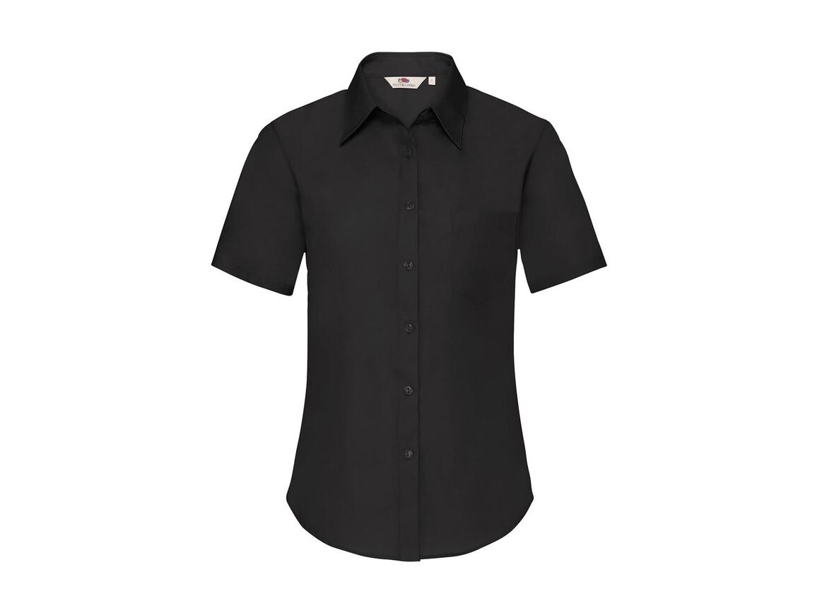 Fruit of the Loom Ladies` Poplin Shirt SS, Black, 2XL bedrucken, Art.-Nr. 793011017