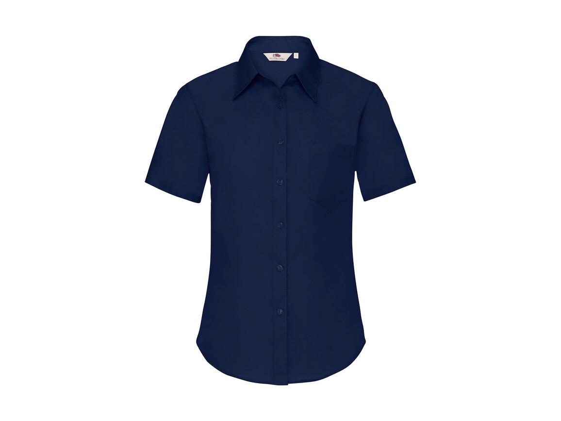 Fruit of the Loom Ladies` Poplin Shirt SS, Navy, 3XL bedrucken, Art.-Nr. 793012008