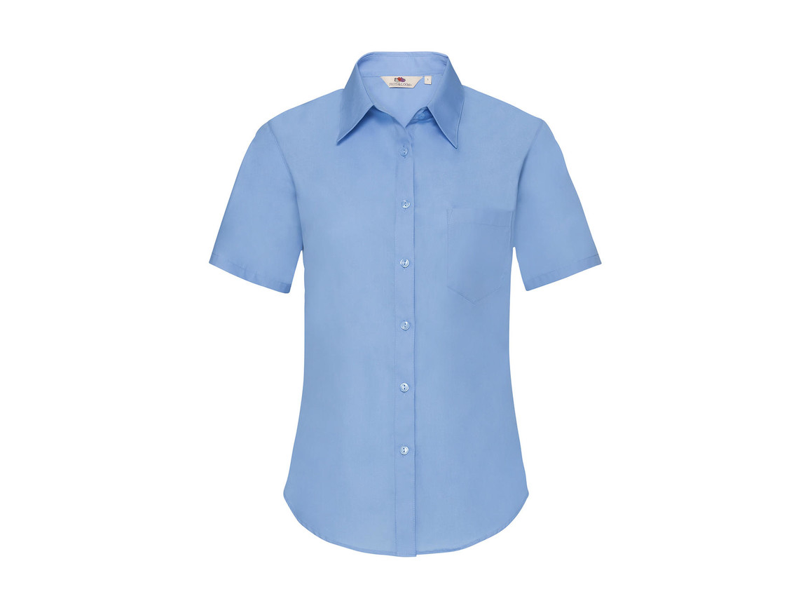 Fruit of the Loom Ladies` Poplin Shirt SS, Mid Blue, 2XL bedrucken, Art.-Nr. 793013377