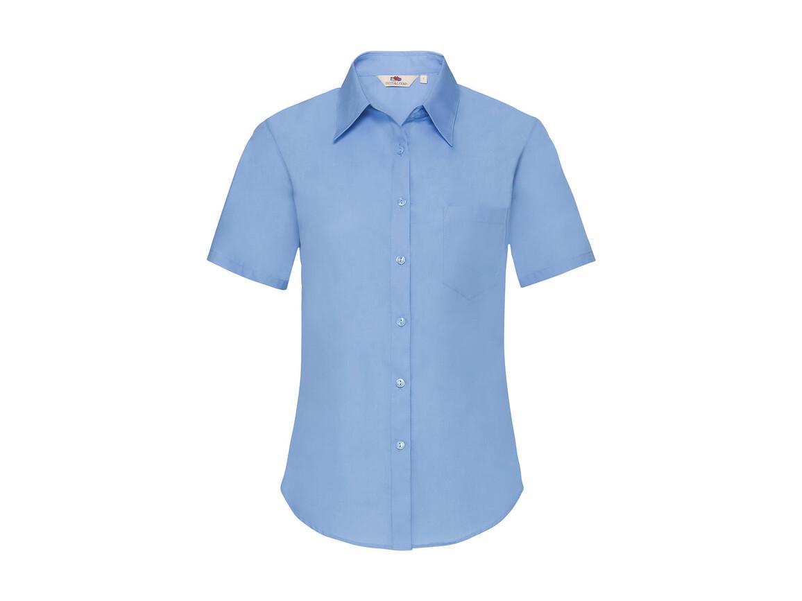Fruit of the Loom Ladies` Poplin Shirt SS, Mid Blue, S bedrucken, Art.-Nr. 793013373