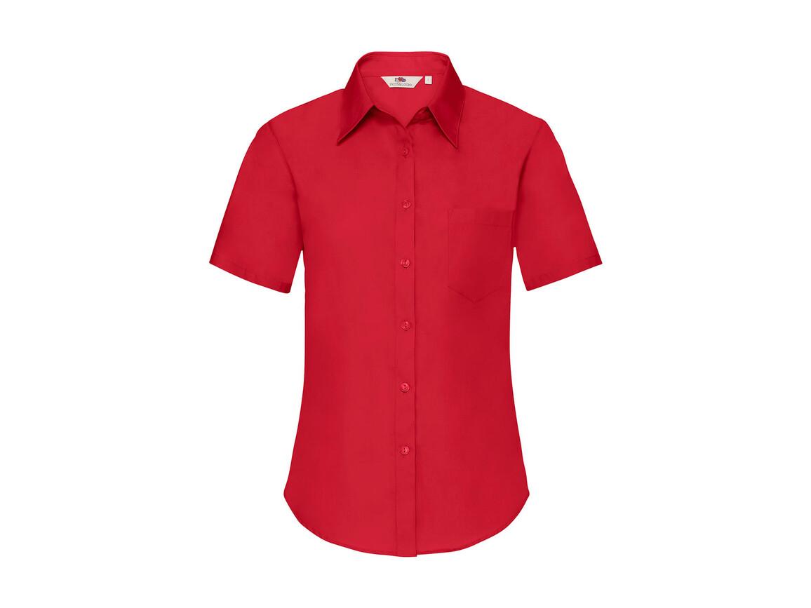 Fruit of the Loom Ladies` Poplin Shirt SS, Red, 2XL bedrucken, Art.-Nr. 793014007