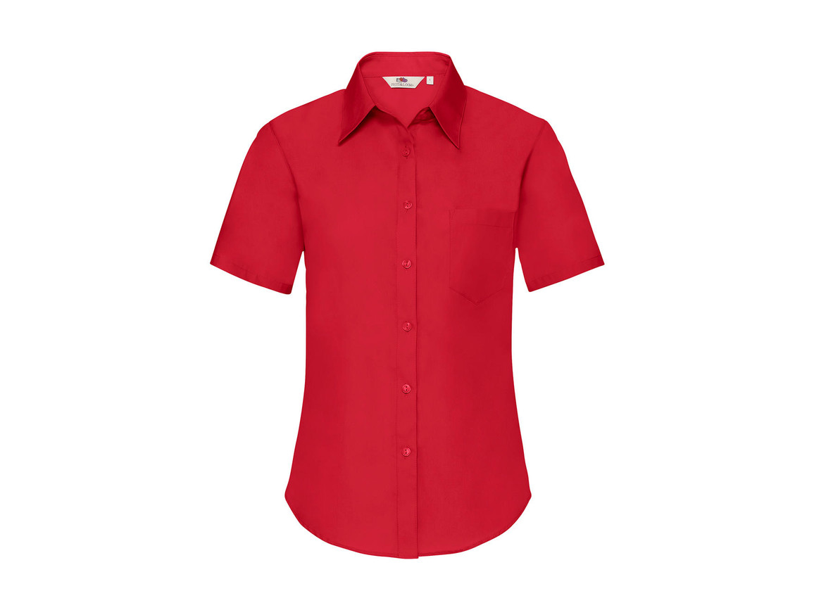 Fruit of the Loom Ladies` Poplin Shirt SS, Red, M bedrucken, Art.-Nr. 793014004