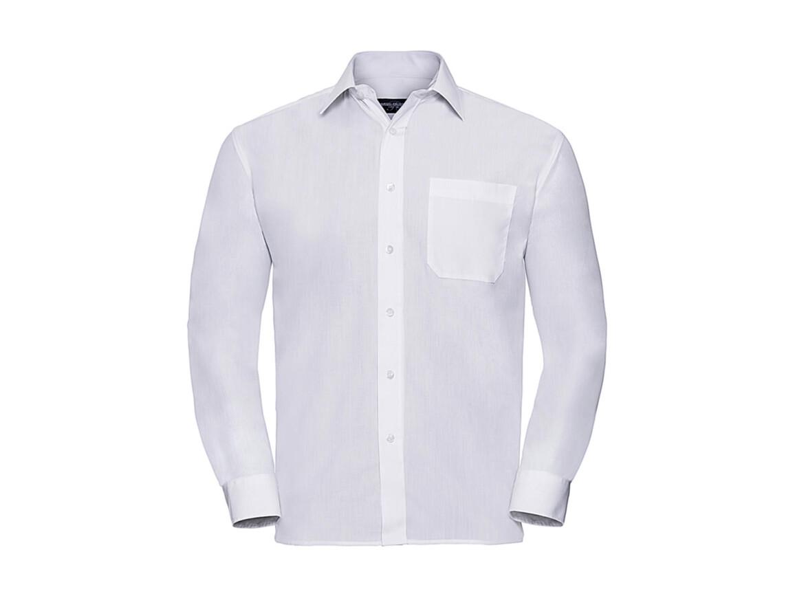 Russell Europe Poplin Shirt LS, White, 4XL bedrucken, Art.-Nr. 794000009