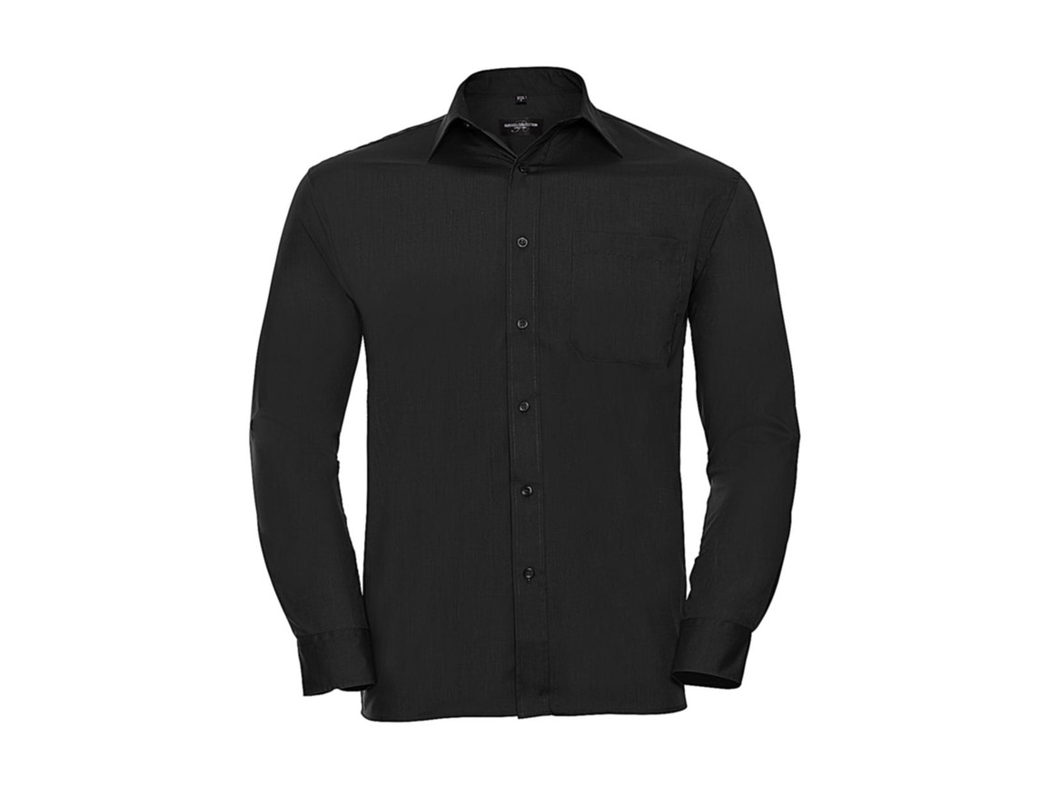 Russell Europe Poplin Shirt LS, Black, S bedrucken, Art.-Nr. 794001013