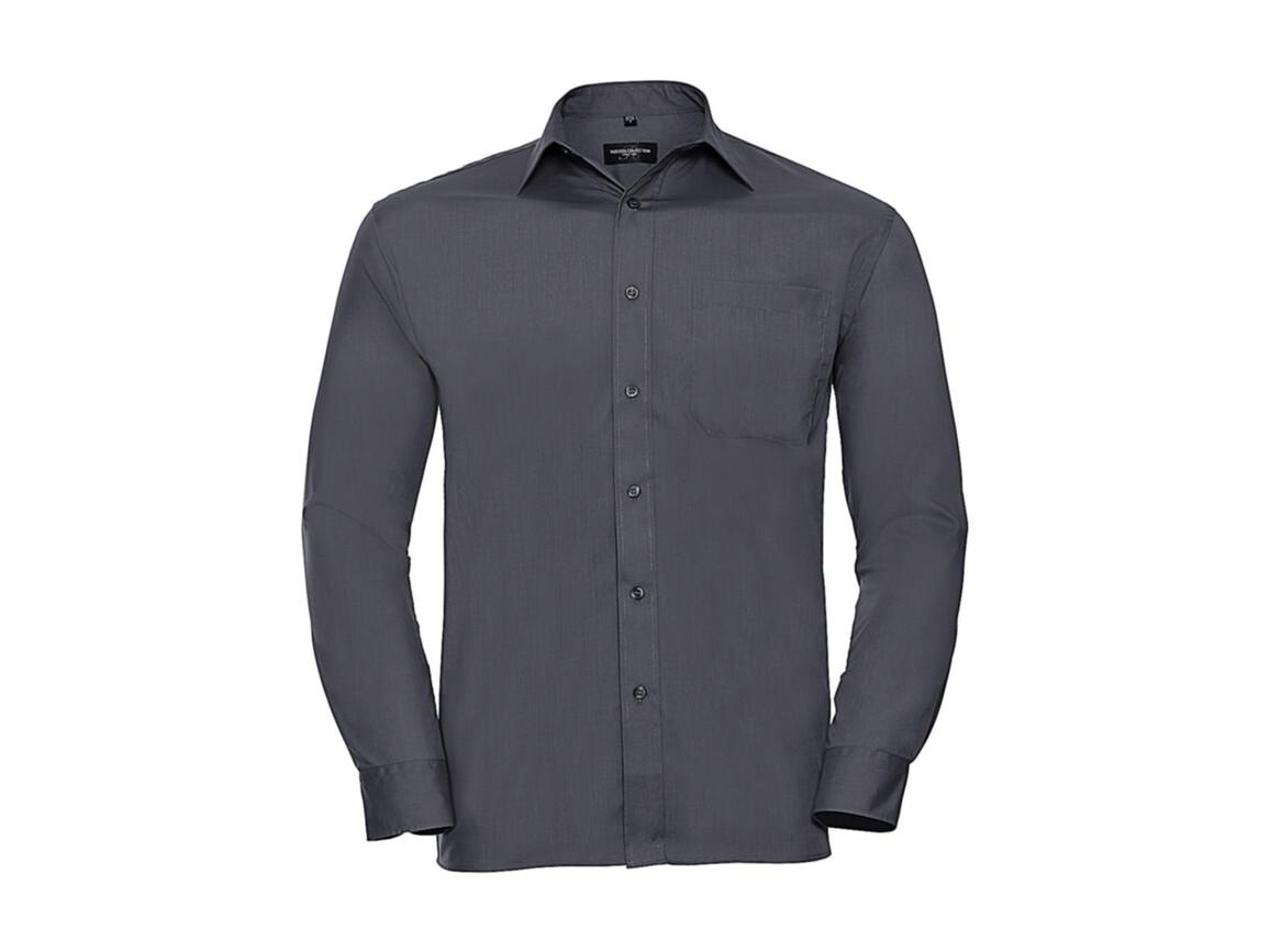 Russell Europe Poplin Shirt LS, Convoy Grey, 2XL bedrucken, Art.-Nr. 794001277